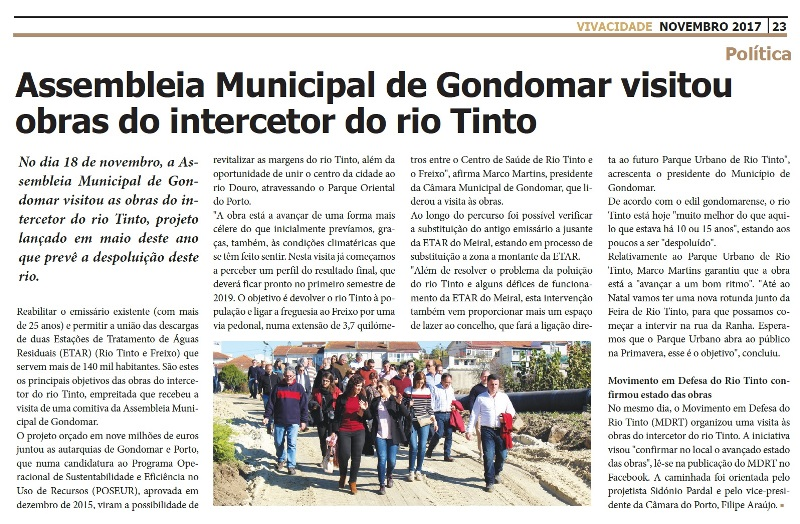2017 11 23 VIVACIDADE 23 assembleia municipal de gondomar visitou obras do intercetor do rio tinto
